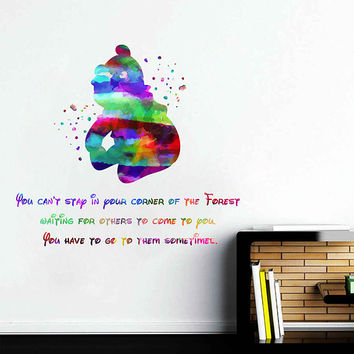 kcik2055 Full Color Wall decal Watercolor Character Disney Winnie the Pooh quote Sticker Disney children's room