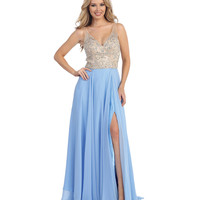 Blue & Nude Beaded Low Back Chiffon Dress 2015 Prom Dresses