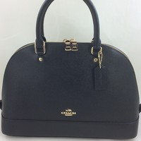 New COACH F57524 Sierra Dome Satchel Handbag Purse Shoulde Bag Black Leather