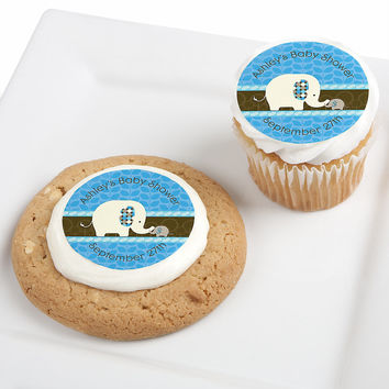 Blue Baby Elephant - Personalized Baby Shower Edible Cupcake Toppers - 12 ct