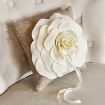 Burlap Ring Pillow -Rustic Wedding- Ivory Rose on Burlap Pillow Rustic Ring Bearer PIllow-