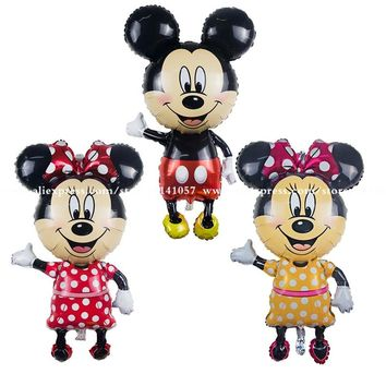 Mickey Minnie balloons Large Giant 112cm Big Red Bowknot standing mouse Airwalker Balloons birthday party decoration balloon