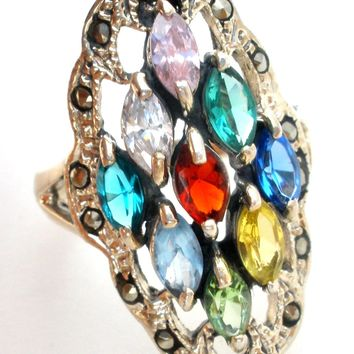 Vintage Multi Color Quartz Sterling Silver Ring Size 8.5