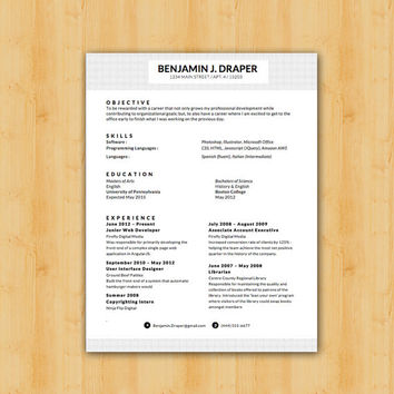 Easy to Edit Professional Resume Template - The Draper Design - Helping YOU Save Time & Get The Dream Job You Deserve - Instant Download