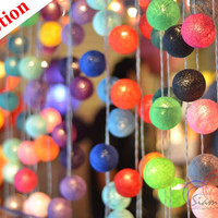 Christmas Lights Rainbow Colors Hanging Cotton Balls String Lights for Holiday Party Promotion 2 Packs 20 Balls/Set