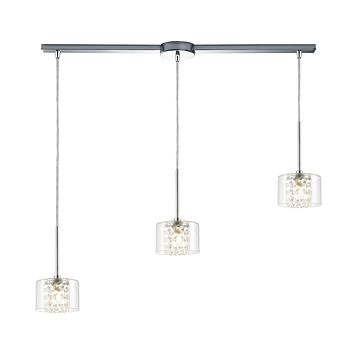 Springvale 3-Light Pendant in Polished Chrome with Clear Glass and Crystal