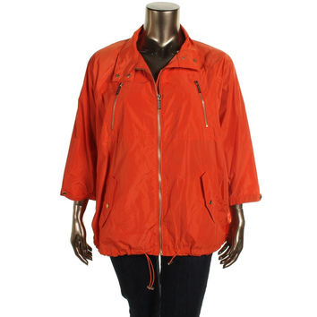 MICHAEL Michael Kors Womens Plus Dolman Sleeves Lined Raincoat