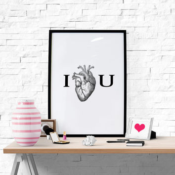 Wall Art I Love You Heart Poster Funny Print Instant Download Love Poster Love Wall Art Love Gift Printable Gift Bedroom Decoration
