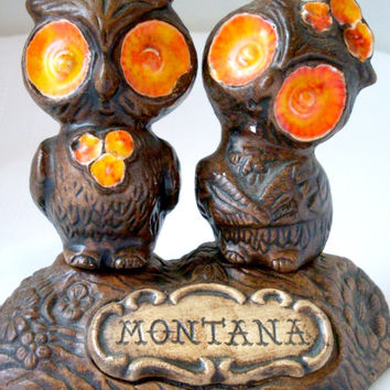 Vintage Owl Salt and Pepper Shakers Treasure Craft Montana Orange