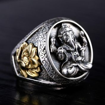 925 Silver jewelry Ganesh ring ~ domineering personality lotus ~