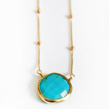 preorder 8/10  TURQUOISE coin bezel necklace by shopkei on Etsy