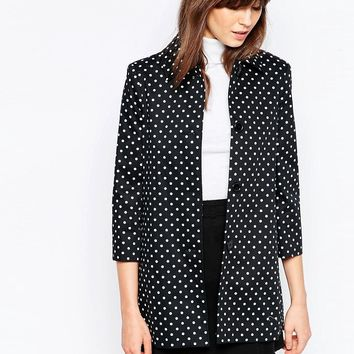 Helene Berman Short A-Line Coat In Polka Dot