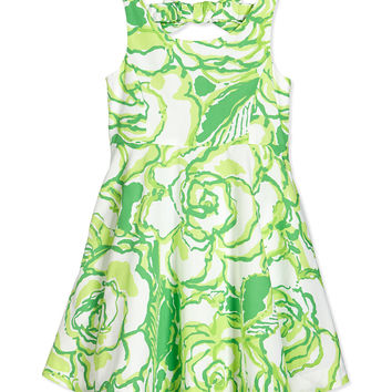 Kaya Bow-Back Fit-and-Flare Dress, Resort White Heart Breakers, Girls' Sizes 2-14 - Lilly Pulitzer