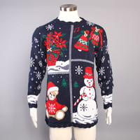 80s Ugly CHRISTMAS SWEATER / Poinsettia, Snowman and Snowflakes OHMY!
