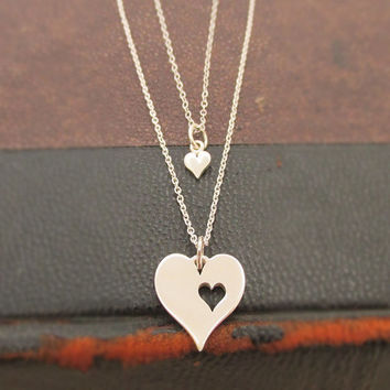 Mother Daughter Sterling Silver Heart Necklace Set, Mommy & Me, Two hearts, Double heart, Sisters, Mothers Day Gift, Mommy Jewelry, MIL Gift