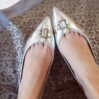 Leather Flat Pointed Toe Pearls Rhinestone Shoes [4919877188]