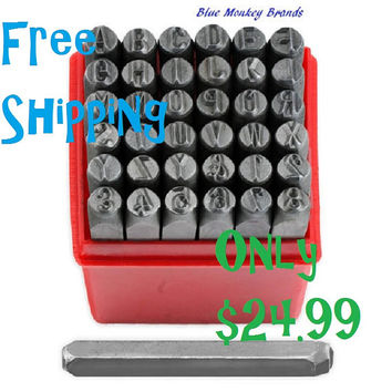 "1/4"" Professional 36pc Letter & Number Stamp Punch Set - 6mm Hardened Steel - Metal, Wood, Leather"