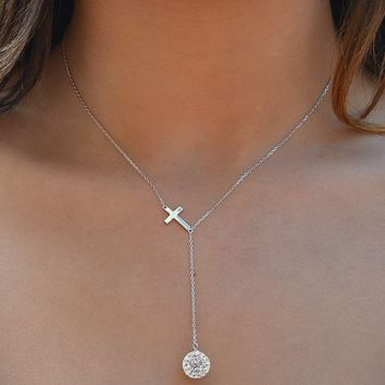 Crystal Cross Y Necklace in Sterling Silver