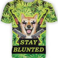 3D Stay Blunted T-Shirt from High Times T-SHIRT DOGE in Weed Leaf Tees Unisex Summer Short Sleeve T Shirts tee tops
