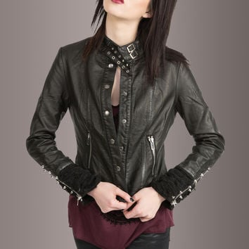 Easy Rider Black Vegan Leather Studded Slim Fit Biker Jacket