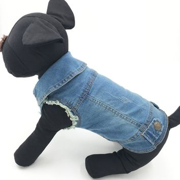 Trendy Summer Puppy Dog Vest Denim Jacket Costume Top Fashion Jeans Clothes for Small Large Dogs - Blue - XS-XXL 20E AT_94_13