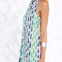Multicolor Geometry Print Key Hole Back Sleeveless Dress