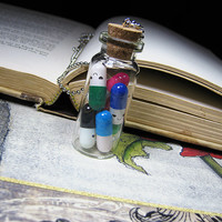 Happy Pills Glass Bottle Necklace - Cork Vial Funny Capsules - Kawaii Charm