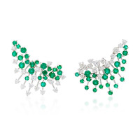 Luminous 18K White Gold, Diamond and Emerald Earrings | Moda Operandi
