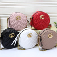 Fashion Round Leather Chain Crossbody Shoulder Bag