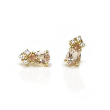 14kt Gold Pink Morganite & Diamond Crown Studs