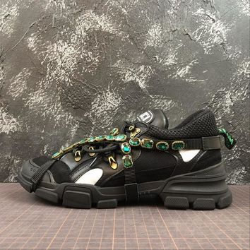 Gucci Flashtrek Leather Sneaker With Crystals Black - Best Online Sale