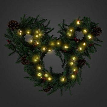 Mickey Mouse Icon Light-Up Holiday Wreath