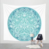 Spring Arrangement - teal & white floral doodle Wall Tapestry by Micklyn