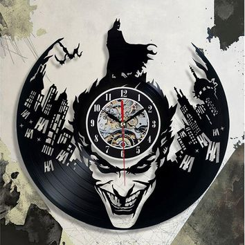 Batman CD Record Wall Clock LP Vinyl Hollow 3D Decorative Hanging Art Decor Clock Classic Exclusive Wall Clock Classic