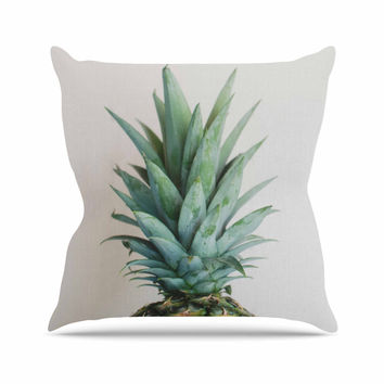 "Chelsea Victoria "" The Pineapple"" Green Gold Outdoor Throw Pillow"