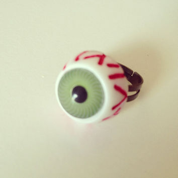 Green Eye Ring by RabbitJewellery on Etsy