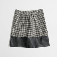 Factory leather-trim houndstooth skirt : Mini & A-Line | J.Crew Factory