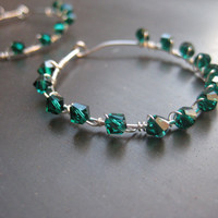 Silver Hoop Earrings with Emerald Green Crystals