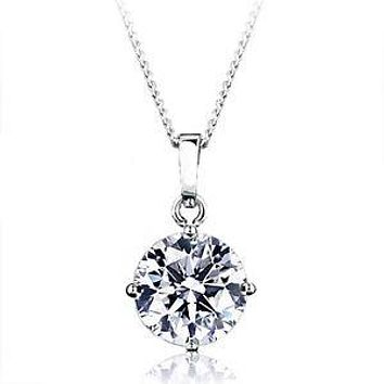 A Perfect 4CT Round Cut Russian Lab Diamond Solitaire Pendant Necklace