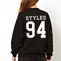 Harry Styles 94 One Direction 1D Sweatshirt Jumper Sweater Crew Neck 1 Direction Sweat Shirt Womens Girls