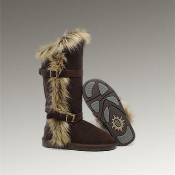 Fashion UGG Fox Fur Tall Boots 1984 Chocolate