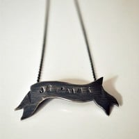 Je t'aime Banner Necklace Sterling Silver  Made by TheAngryWeather