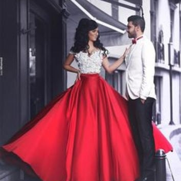 Sweatheart Prom Dresses,Red Prom Dress,Long Evening Dress