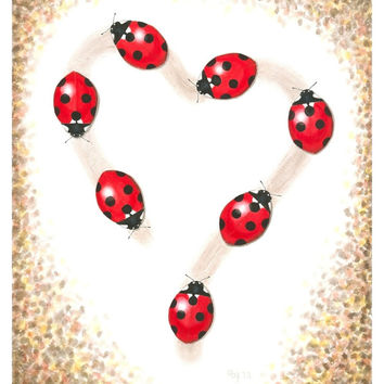 "Ladybug Painting Giclee Print - Fine Art Reproduction of Original Ladybug Heart Illustration, Red Heart Nursery Art 8.5"" X 11"""
