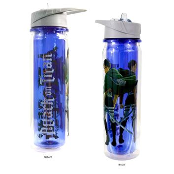 24oz Attack on Titan OFFICIAL Sports and Fitness Training PREMIUM Water Bottle with Eren and Mikasa GIFT (BPA-Free)