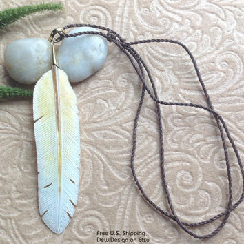 "Mother of Pearl, ""Feather"" Necklace, Adjustable Cotton Rope Chain, Tribal Style"