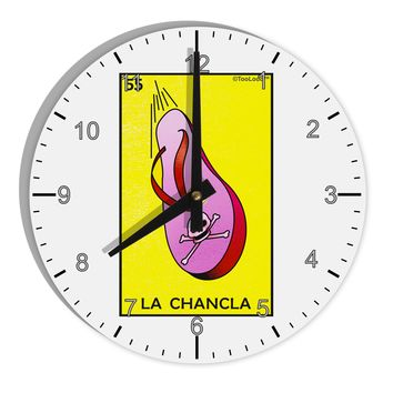 "La Chancla Loteria Solid 8"" Round Wall Clock with Numbers by TooLoud"