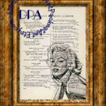 Actress Marilyn Monroe Draw Art - Vintage Dictionary Page Art Print Upcycled Page Print, Hollywood Star Print