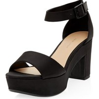 Wide Fit Black Sateen Chunky Low Block Heels