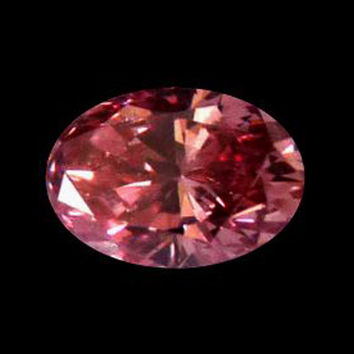 Red oval cut 2.50 carats loose diamond enhanced